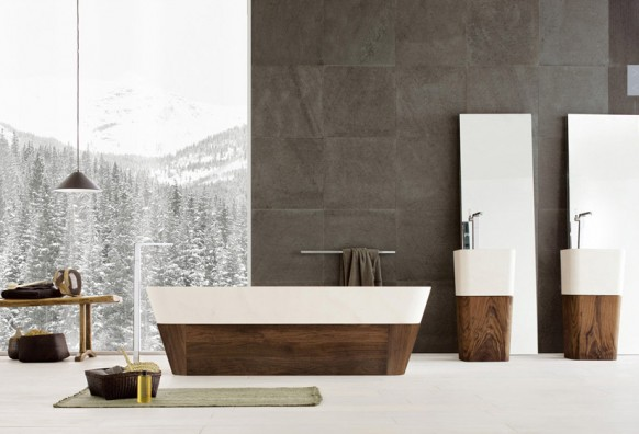 อ่างอาบน้ำ สีขาว ไม้ สวยหรูหรา