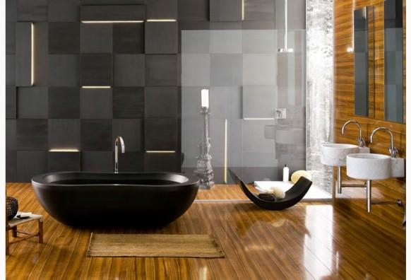 ห้องน้ำหรู อ่างอาบน้ำสีดำ จากุซซี
