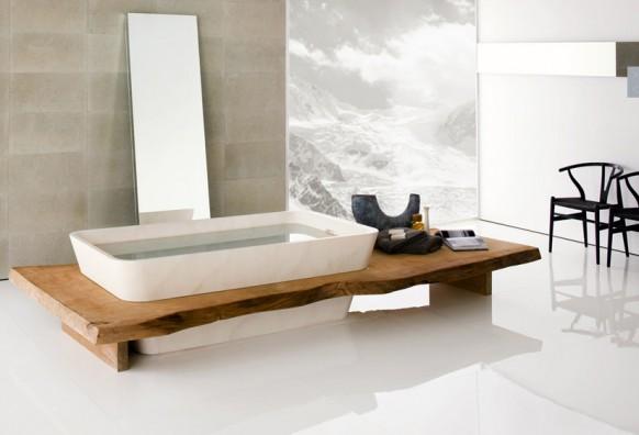 อ่างอาบน้ำสีขาว กึ่งไม้