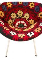 เก้าอี้ แบบกลม สีแดง ลายดอกไม้