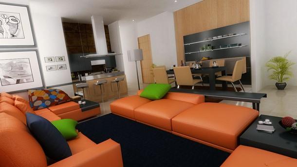 ตกแต่งอพาร์ทเม้นท์ โทนสีส้ม