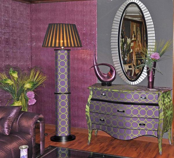 โคมไฟ โต๊ะเครื่องแป้ง สไตล์ วินเทจ สีม่วง หรูหรา