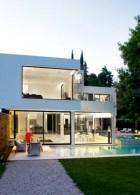 แบบบ้านสวยสองชั้น สไตล์โมเดิร์น สีขาว เขียว
