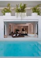 แบบบ้าน โมเดิร์น มีสระว่ายน้ำ หน้าบ้าน