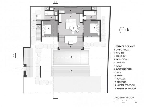แปลนบ้าน 2 ชั้น สไตล์โมเดิร์น มีสระว่ายน้ำหน้าบ้าน