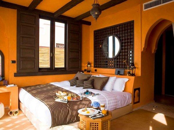 แบบห้องนอน ตกแต่งโทนสีส้ม สไตล์โมร็อกโก