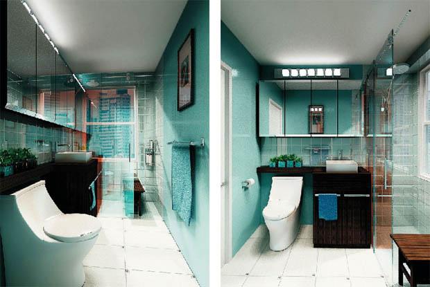 แบบไอเดีย ตกแต่งห้องน้ำแคบๆ ภายในห้องนอน ขนาดเล็ก
