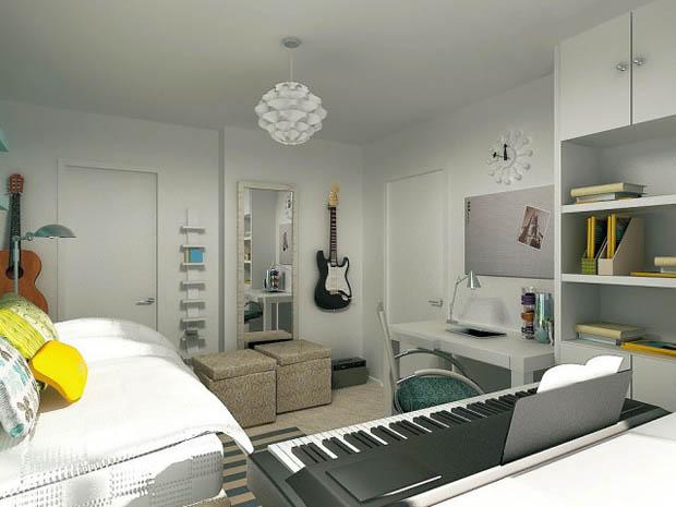 แบบไอเดียตกแต่งห้องนอนในหอพัก อพาร์ทเม้นท์ คอนโดมิเนียมขนาดเล็ก