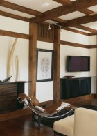 แบบบ้านไม้ ตกแต่งห้องรับแขกแบบเรียบง่าย