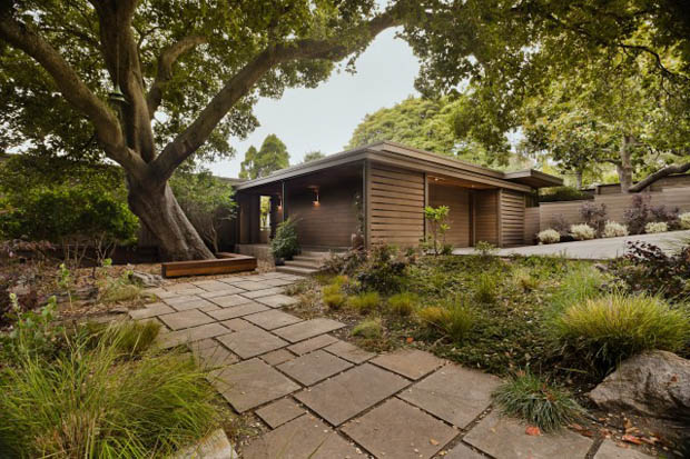 พื้นหิน ตกแต่งทางเดินในสวน บ้านไม้