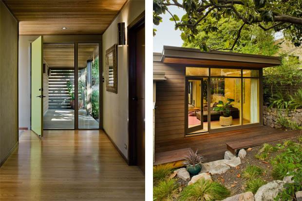 จัดสวน บ้านไม้ ริมทางเดินระเบียงบันไดบ้าน