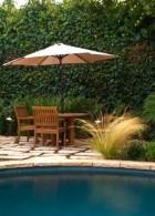 เก้าอี้ไม้ กลางแจ้ง ร่มสนาม ตกแต่งสวนนั่งเล่นริมสระน้ำ