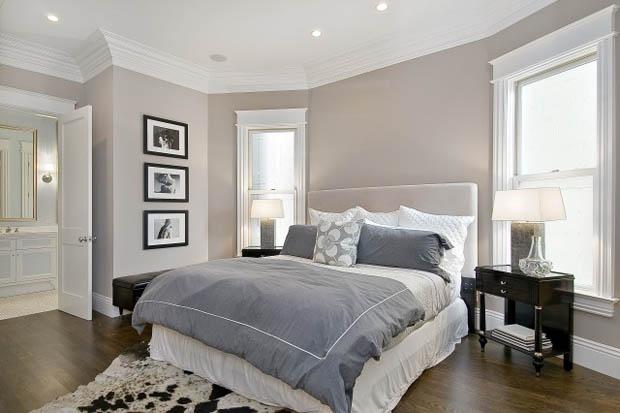แบบห้องนอน ผ้าปูเตียง สีขาว เทา ชุดเครื่องนอนสวยๆ
