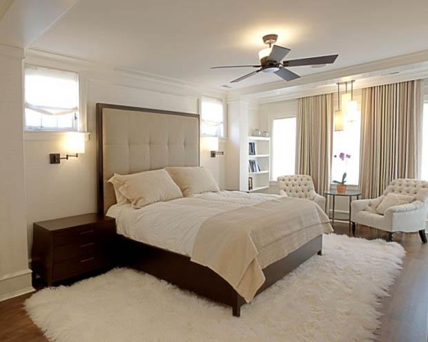 พื้นพรม สีขาว ตกแต่งห้องนอน ให้ดูอบอุ่น