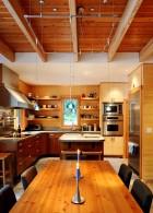 เคาน์เตอร์ โต๊ะไม้ ตกแต่ง ห้องครัว