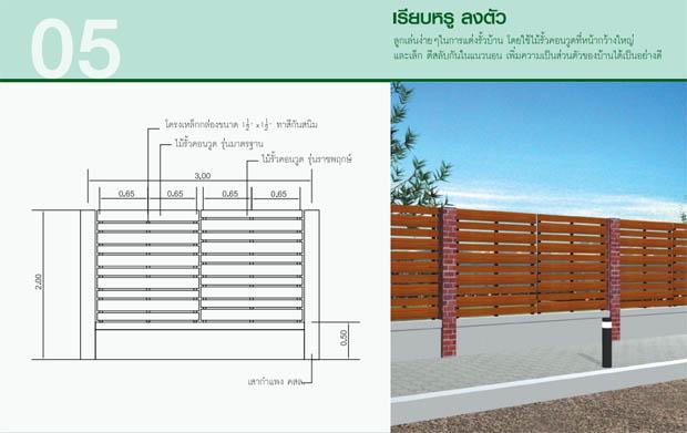 แบบรั้วปูน ผสม รั้วไม้คอนวูด สร้างรั้วบ้านด้วยตนเอง