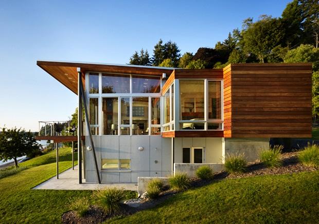 แบบบ้าน 2 ชั้น ชั้นล่างปูนซิเมนต์ ชั้นบนไม้ พื้นที่ต่างระดับ