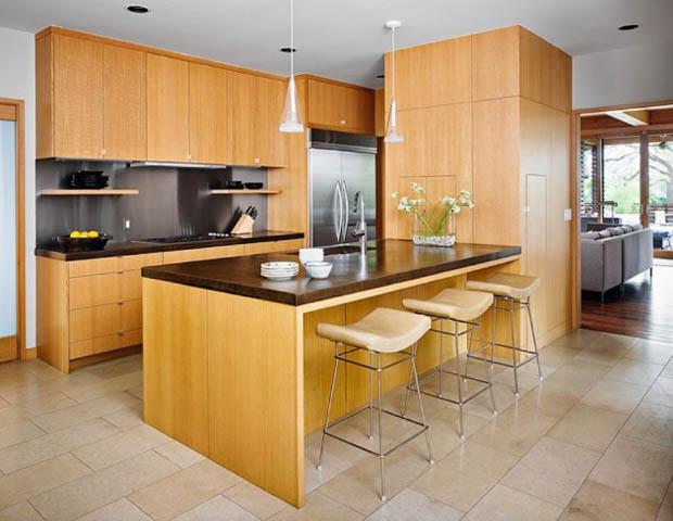 บิวท์อิน เคาน์เตอร์ไม้สักแท้ ตกแต่งห้องครัวด้วยไม้