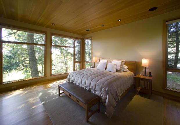 แบบห้องนอน พื้นไม้ เพดานไม้ ชุดเฟอร์นิเจอร์ไม้ เรียบง่าย