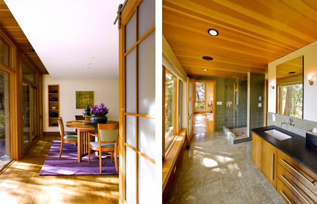 ประตูไม้ กระจกฝ้า แบบห้องน้ำแคบๆ
