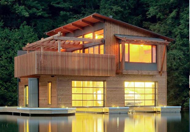 แบบบ้านไม้ 2 ชั้น สร้างบ้านริมน้ำ