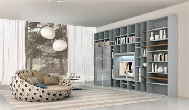 Wood Shelves Living room design