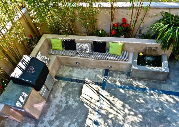 แบบสวนนั่งเล่น บนอาคาร สวนน้ำตกเล็กๆ