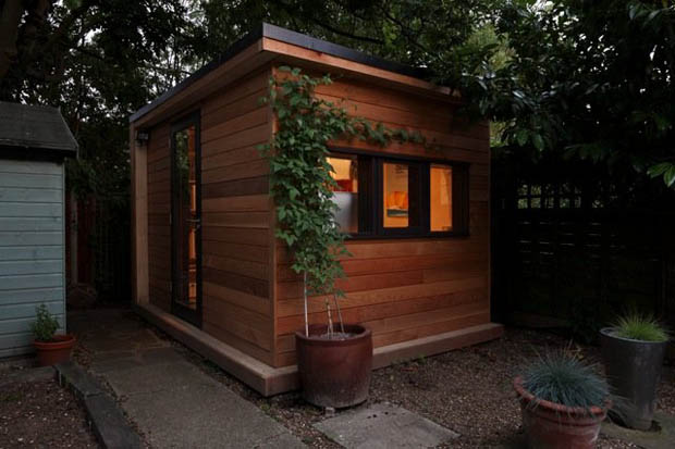 Wooden Mini Home Office in Garden