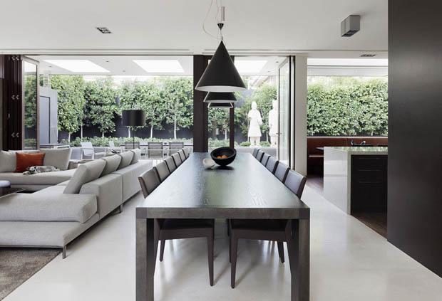 โคมไฟสีดำ โต๊ะรับประทานอาหาร สีโอ๊ค