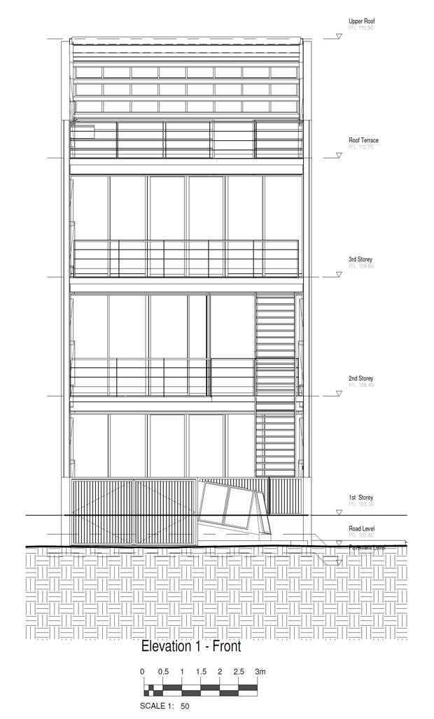 แปลนบ้านตึกแถว 4 ชั้น มีชั้นลอย