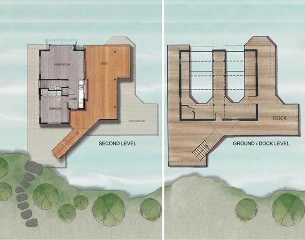 แปลนบ้านไม้ ริมแม่น้ำ 2 ชั้น ลอยน้ำได้ ป้องกันน้ำท่วม