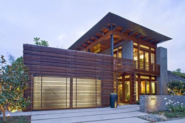 แบบบ้าน 2 ชั้น Tropical ไม้ระแนง โชว์ปูนเปลือย