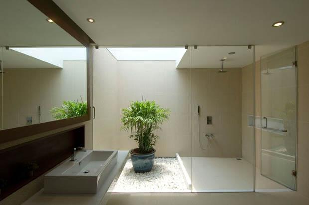 จัดสวนในห้องน้ำ พื้นหินน้ำตก