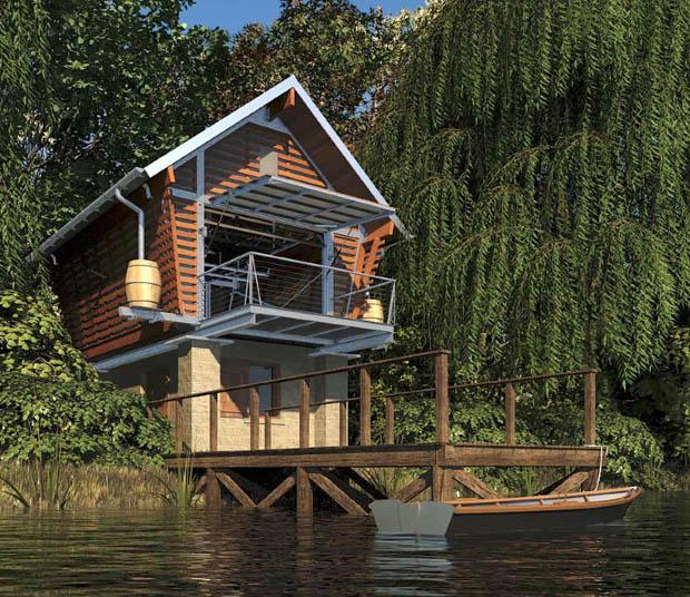 แบบบ้านริมน้ำ บ้านริมคลอง บ้านริมบึง