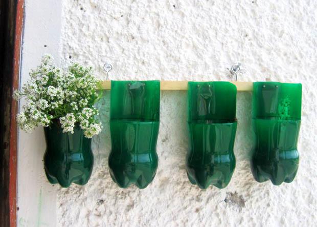 ทำแจกันดอกไม้ จากขวดน้ำ ขวดพลาสติก