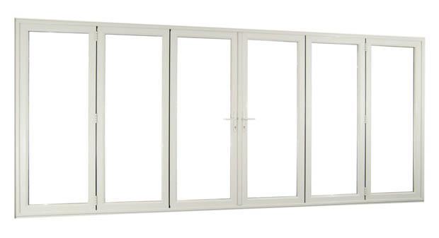 แบบประตูบานเฟี้ยม วงกบอลูมิเนียม สีขาว