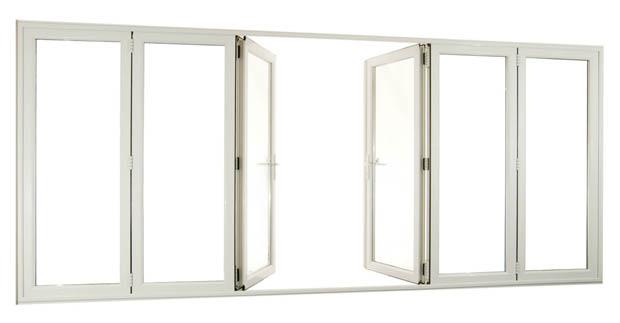 ประตูบานเฟี้ยม วงกบอลูมิเนียม สีขาว