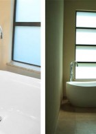 อ่างอาบน้ำแบบตั้งพื้น ก๊อกสแตนเลส