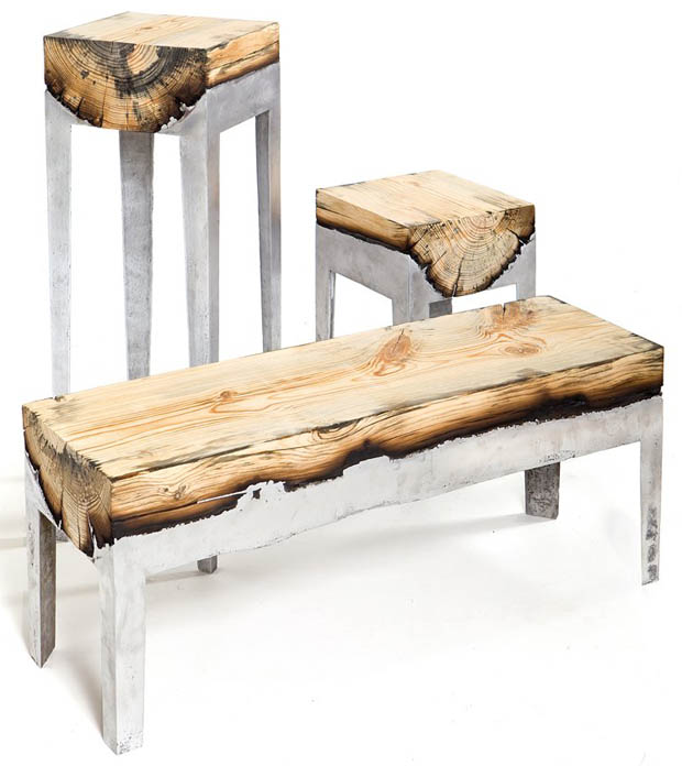 เก้าอี้ไม้เนื้อแท้ ไม้จริง ขาเหล็กอลูมิเนียม