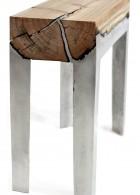 เก้าอี้ไม้แท้ ขาอลูมิเนียม