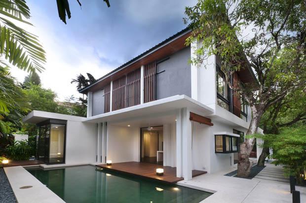 แบบบ้านสองชั้น สวยงาม มีสระว่ายน้ำ