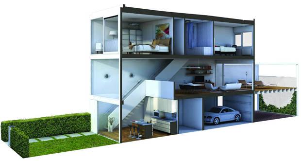 แบบบ้าน 3 มิติ ทาวน์โฮม ห้องแถว อาคารพานิชย์