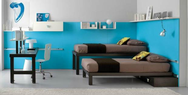ผนังห้องนอนสีฟ้า แต่งห้องสำหรับเด็ก