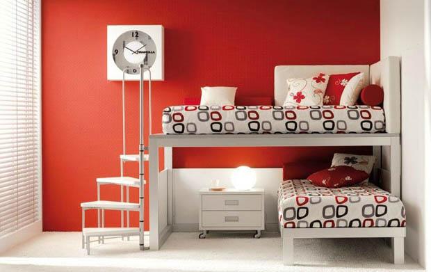 ทาสีห้องนอน สีแดง เตียงนอน 2 ชั้น