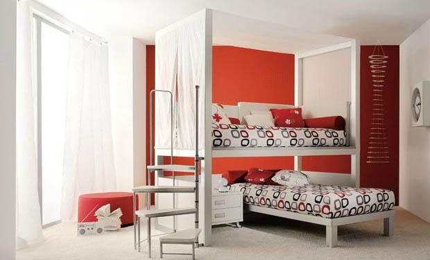 ห้องนอนสีส้ม เตียงนอนขนาดเล็ก