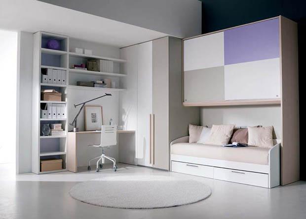 ห้องนอนสวยๆ สีขาว ม่วง