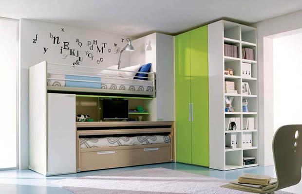 ห้องนอนเล็กๆ สีเขียว