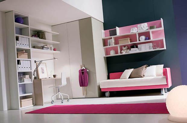 ห้องนอนสีชมพูด เตียงนอนเล็กๆ