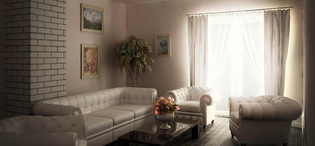 ห้องนั่งเล่นสีขาว