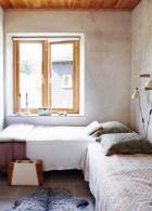 ห้องนอนเล็ก ผนังห้องปูนขัดมัน